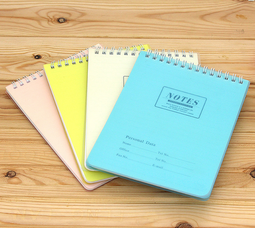 Color coil notebooks, exercise books, diaries, can
